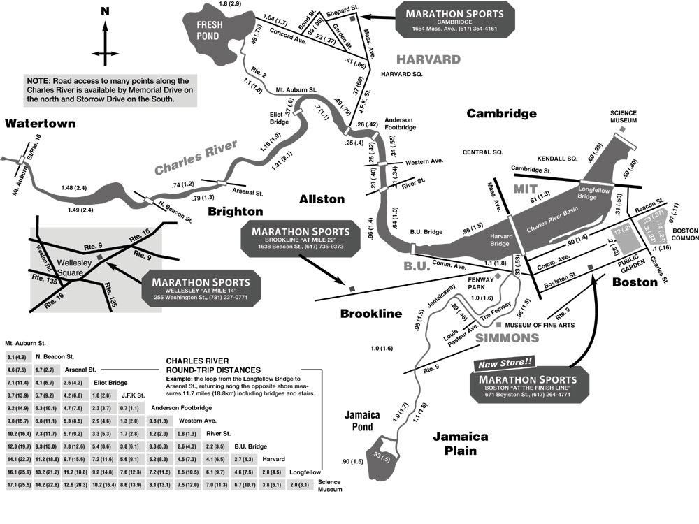 Charles River Running Map